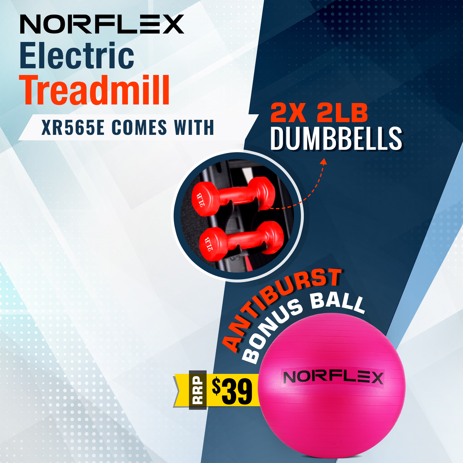 NORFLEX Electric Treadmill Home Gym Ball Exercise Machine Fitness Equipment