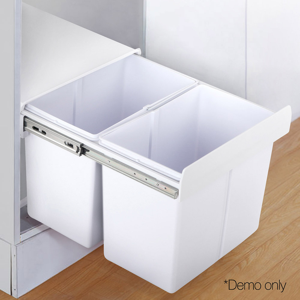 Cefito 2x20L Pull Out Bin - White