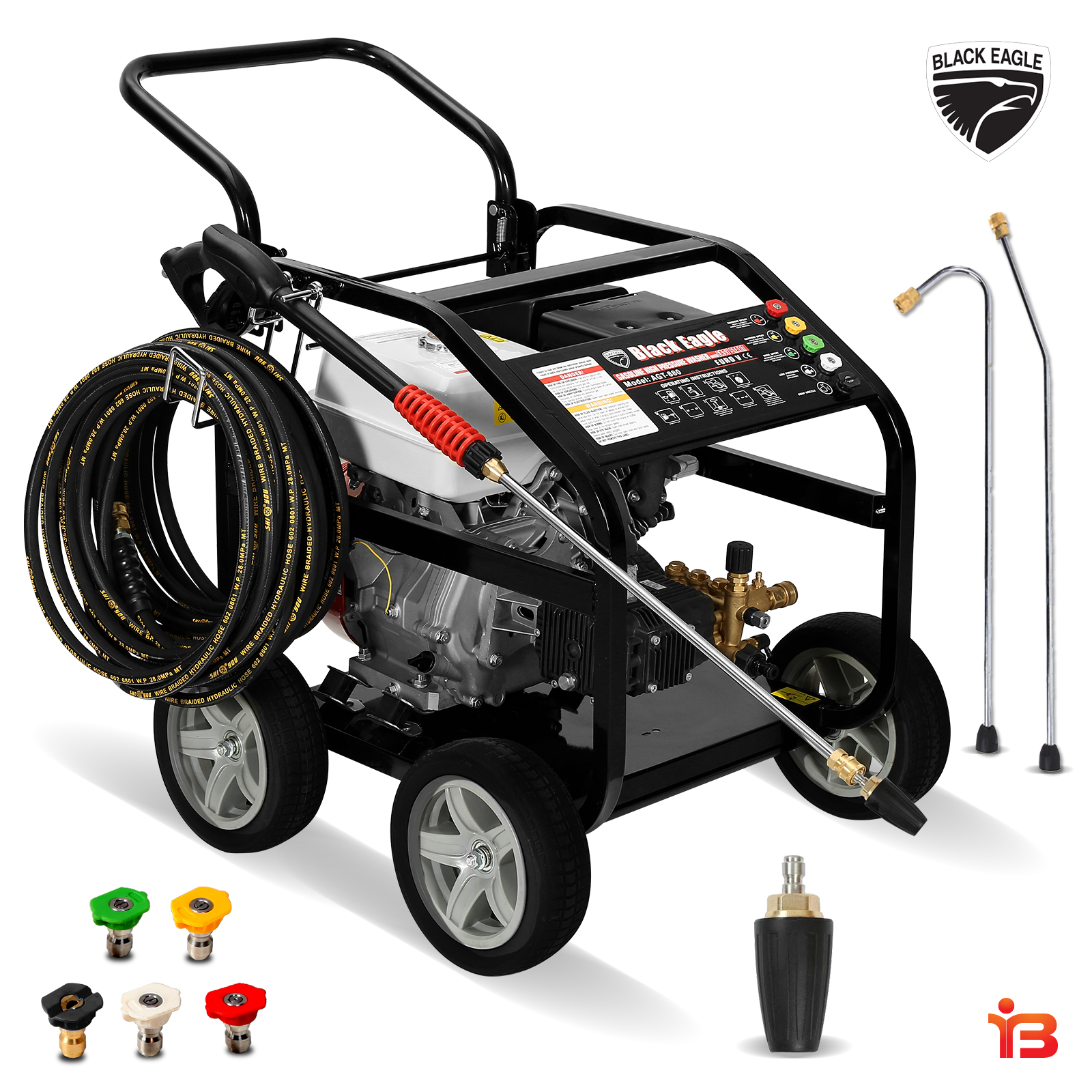 Black Eagle 4800PSI High Pressure Petrol Pressure Washer