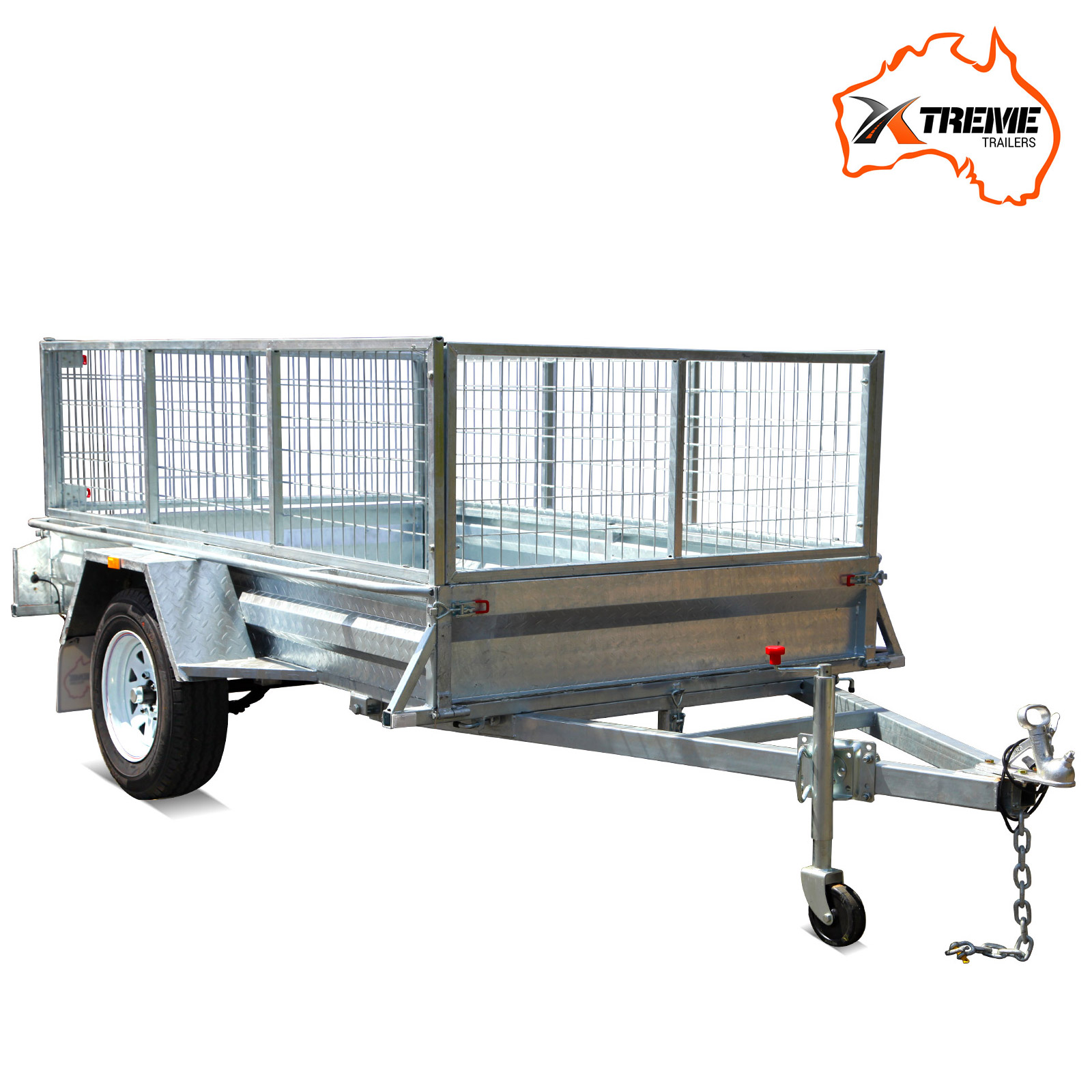New 7x5 Full Welded Galvanised Box Trailer With 600mm Cage