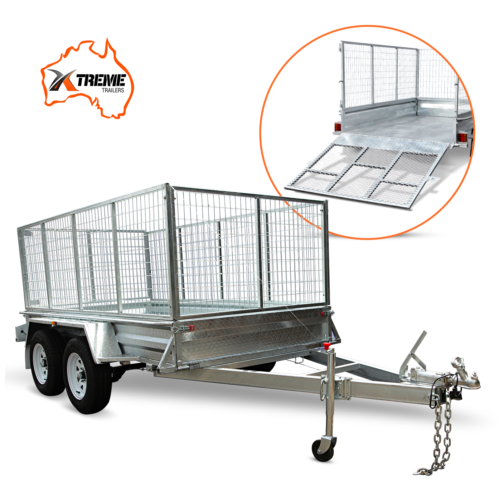 8x5 Tandem Box Trailer 900mm Cage ATM 2000kg with Ramp