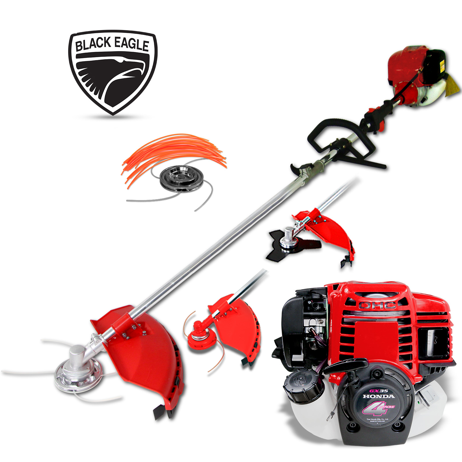 Black Eagle Powered by Honda 52cc Pole Chain Saw with Hedge Trimmer
