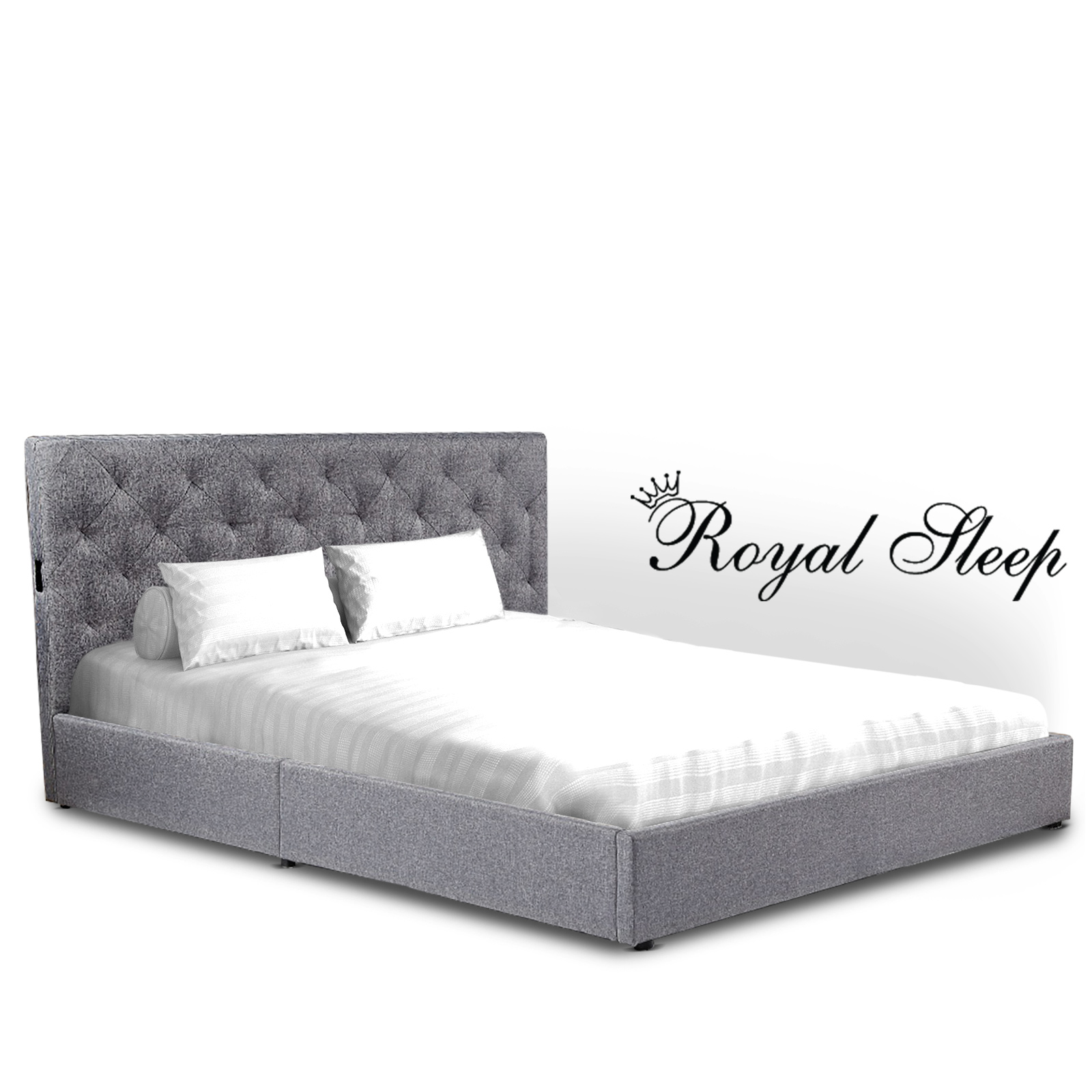 Royal Sleep Queen Bed Frame Gas Lift Platform Base Mattress Fabric Piuma Grey