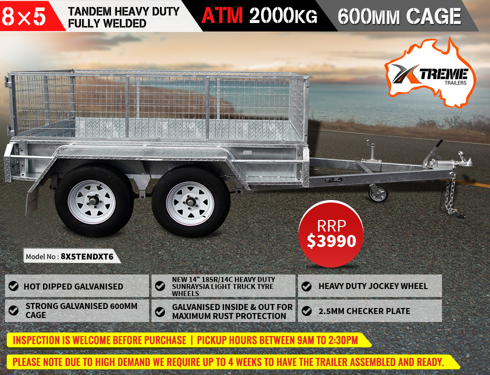 8x5 Tandem Heavy-Duty Full Welded Galvanised Box Trailer With 600mm Cage