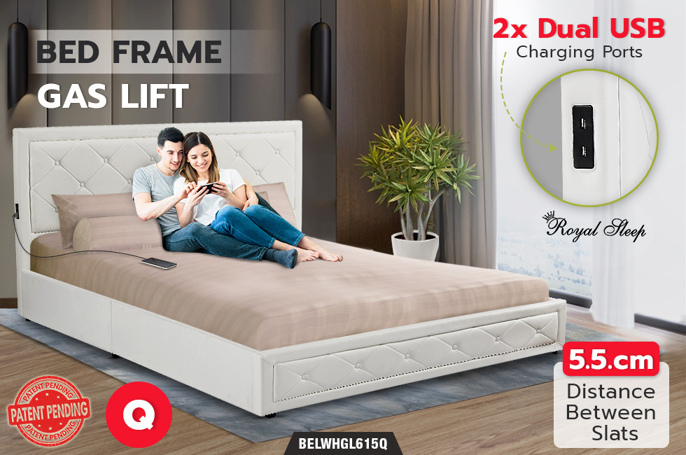 Royal Sleep Queen Leather Wooden Bed Frame Gas Lift Platform Base White Bellezza