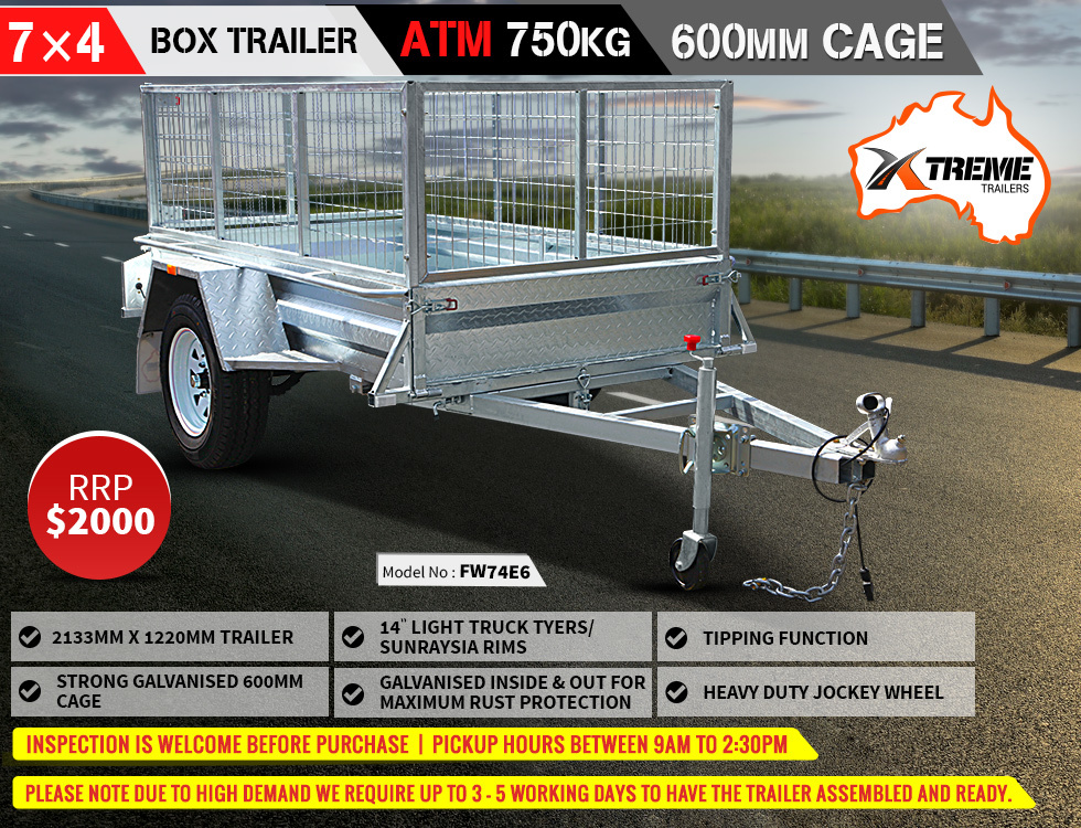 Xtreme Trailers 7x4 Heavy Duty Galvanised Tipping Box Trailer 600mm Cage  ATM 750kg