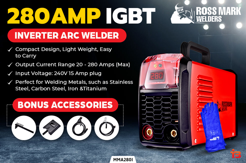 NEW ROSSMARK Welder Inverter Arc 280 Amp Welding Machine DC iGBT Stick Portable