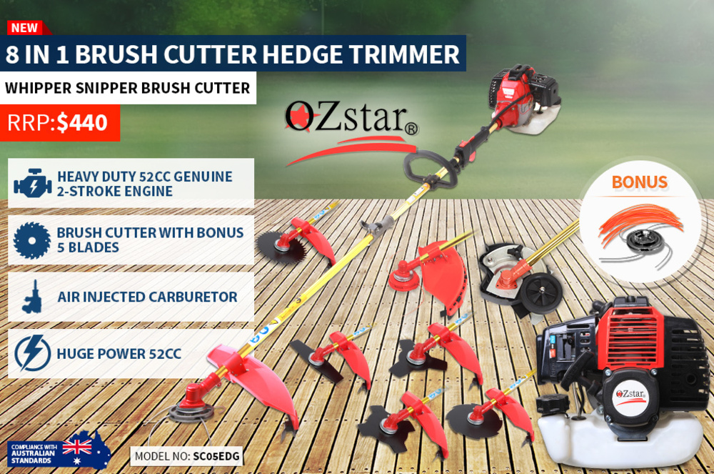8 in 1 Petrol Brush Cutter With Lawn Edger - 2 Stroke