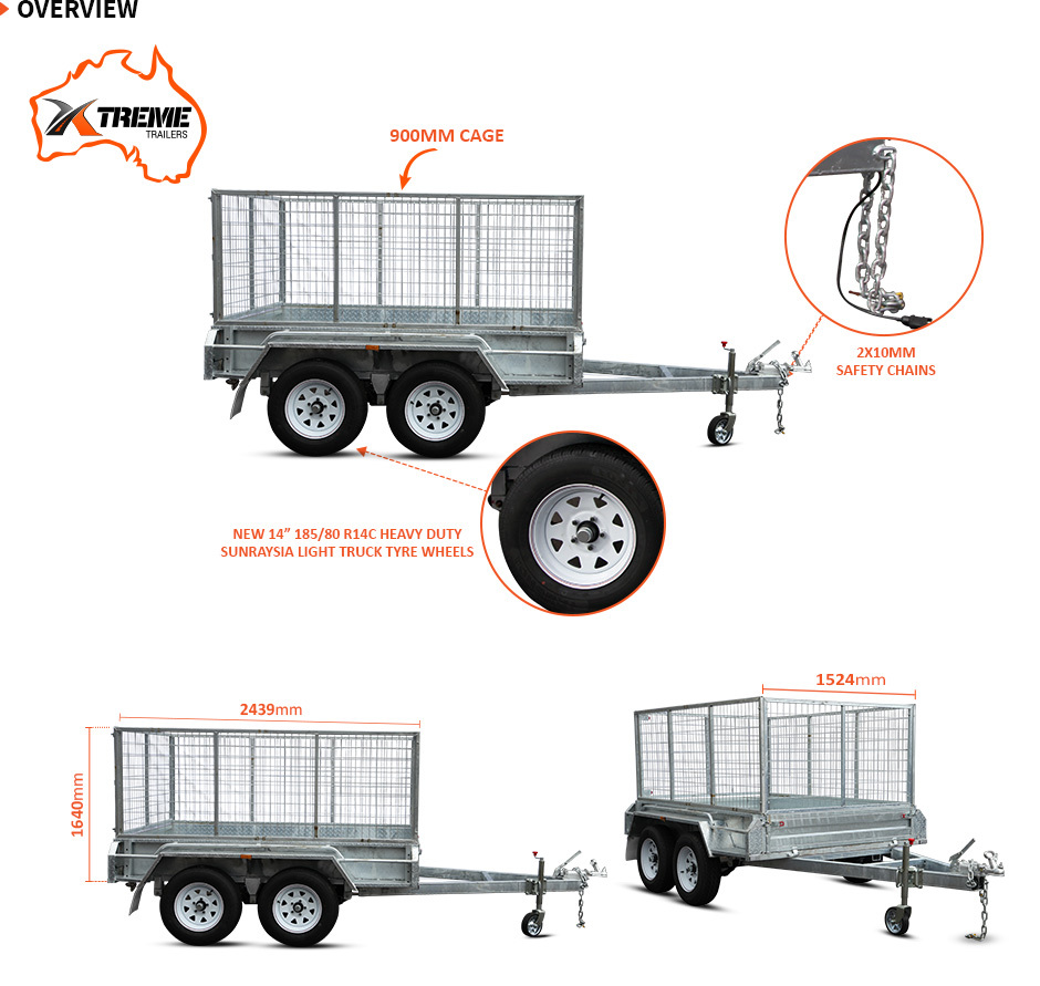 Xtreme Trailers 8x5 Tandem Galvanised Box Trailer 900mm Cage ATM 2000kg