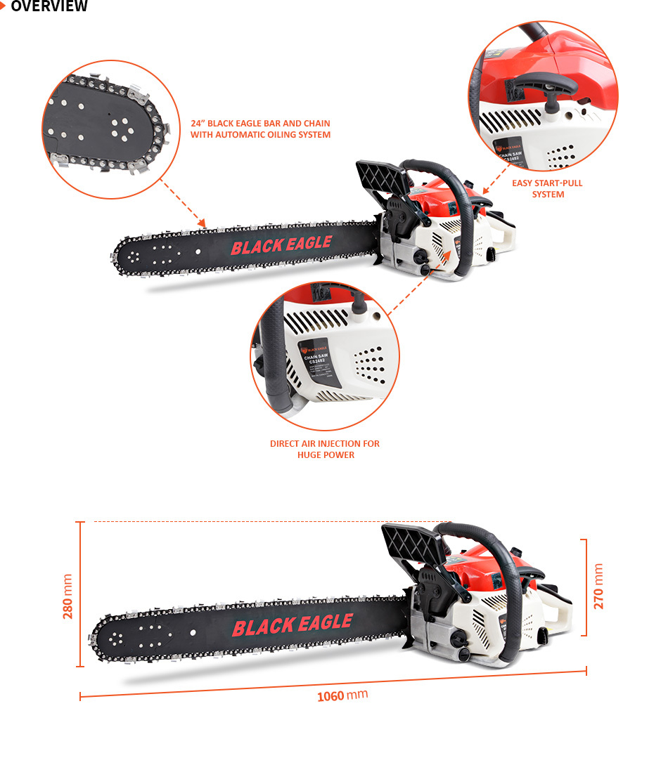 "NEW BlackEagle 82cc Commercial Petrol Chainsaw EStart 24"" Chain Saw Tree Pruning"