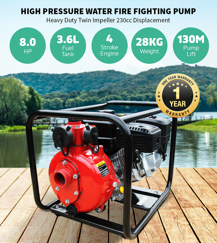 Heavy Duty Fire Fighting Water Pump 8HP USA Design, 230cc with 3 Outlets