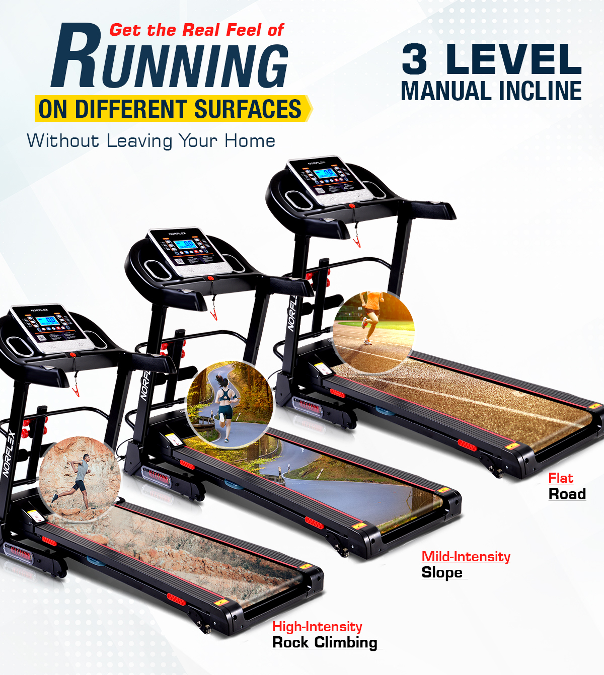 NORFLEX 3.0CHP Electric Treadmill with BONUS FITNESS TRACKER & DUMBBELL