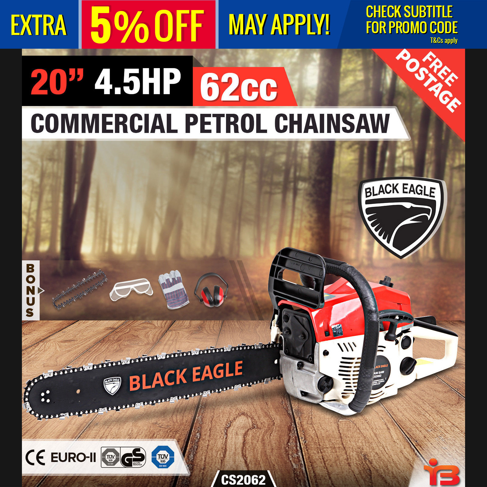 "NEW BlackEagle 62cc Commercial Petrol Chainsaw EStart 20"" Chain Saw Tree Pruning"