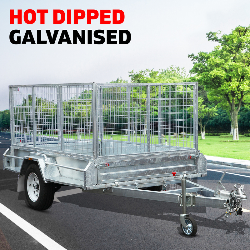 New 8x5 900MM Cage Heavy Duty Fully Welded Galvanised Box Trailer with ATM 1400K