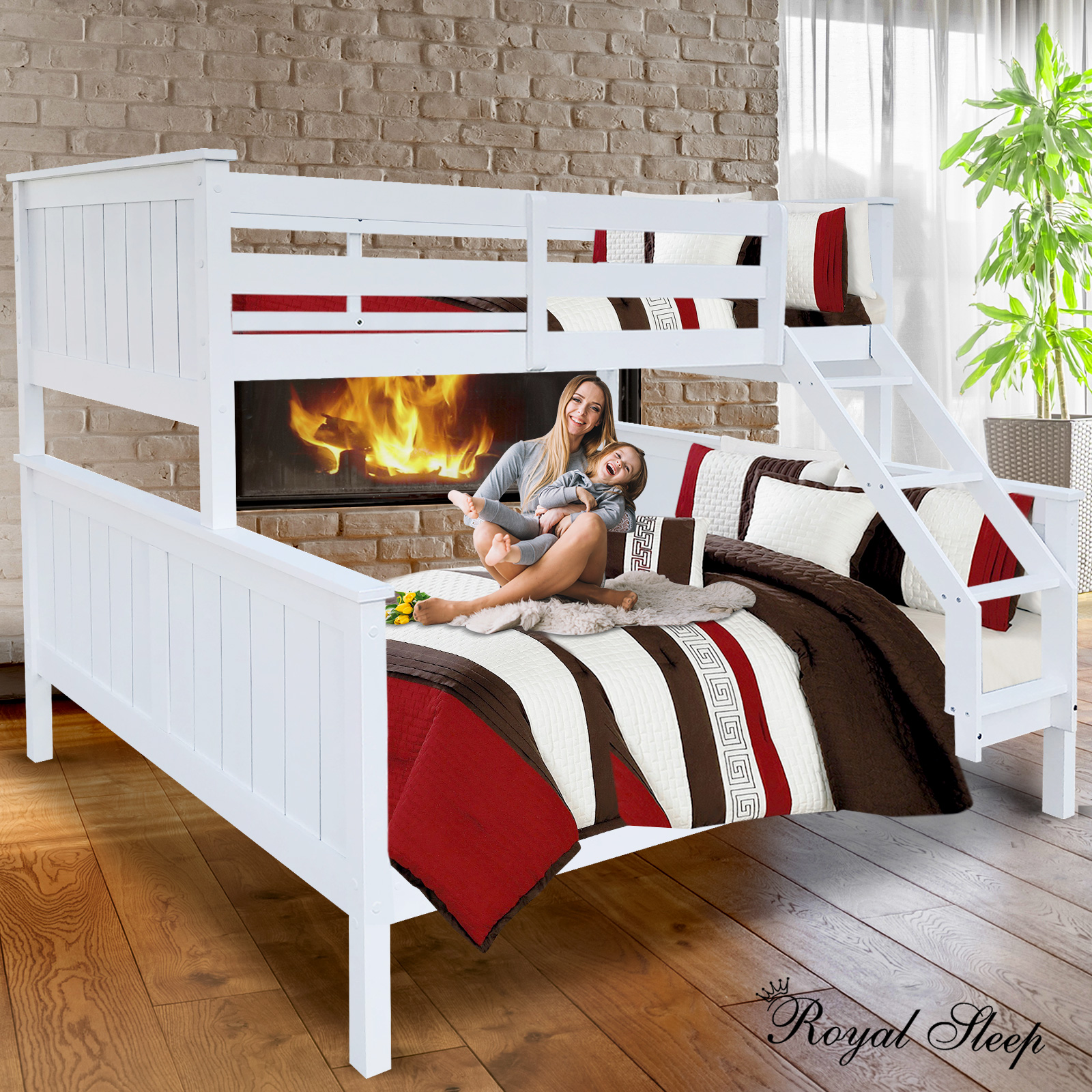 Triple Bunk Bed Single Over Double White