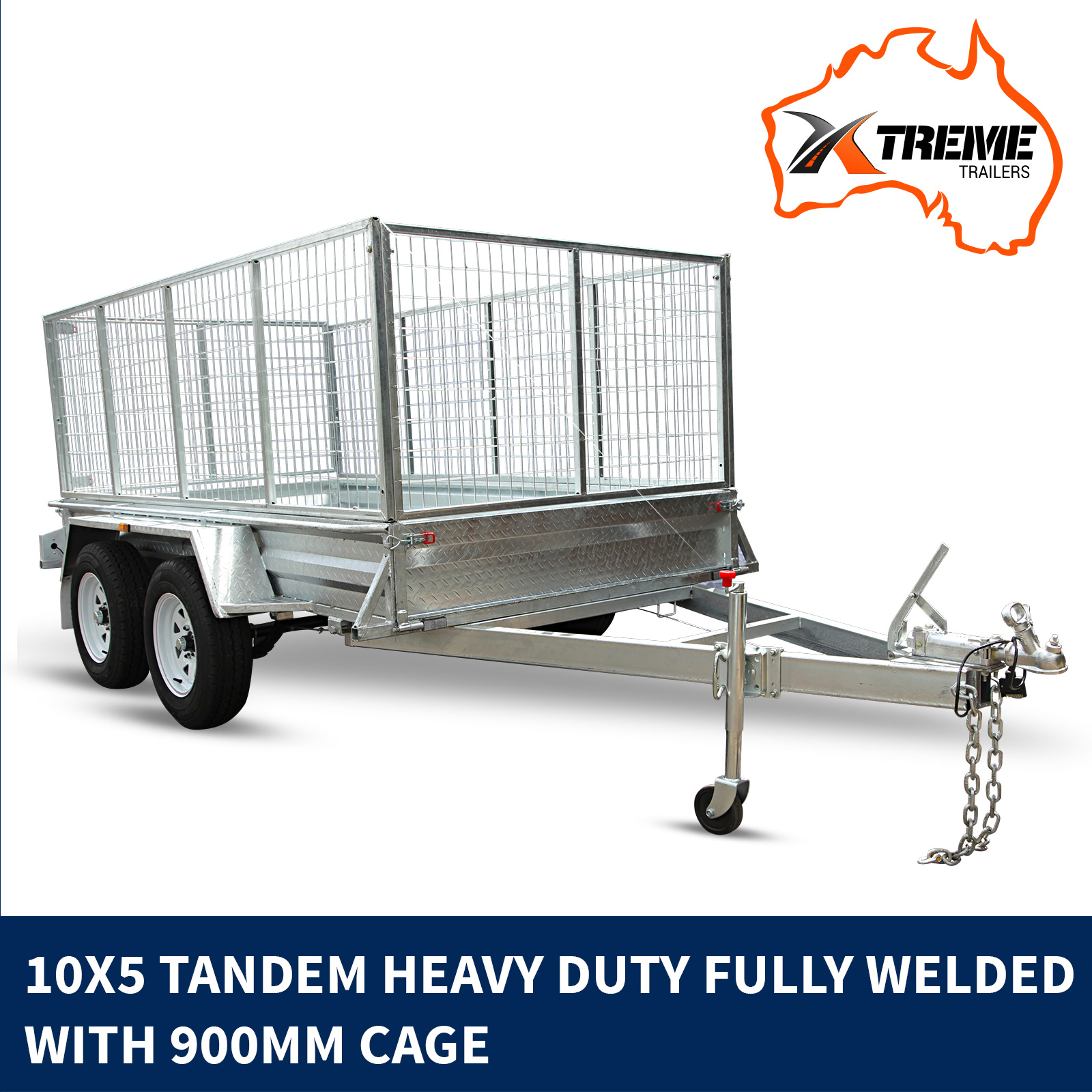 NEW XTREME 10x5 Tandem Box Trailer 900MM CAGE RAMP Welded GALVANISED ATM 2000kg