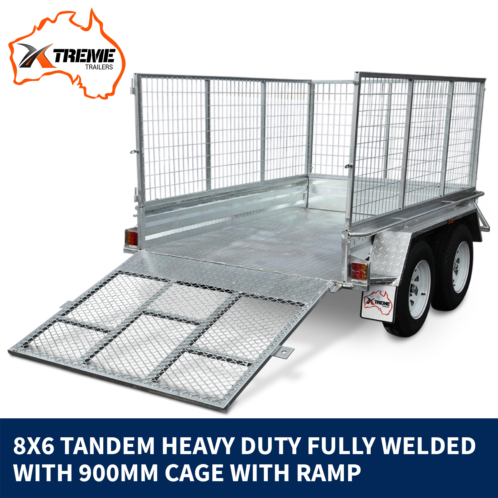 New 8x6 Tandem Axle Trailer with 900 mm Cage from Xtreme Trailers