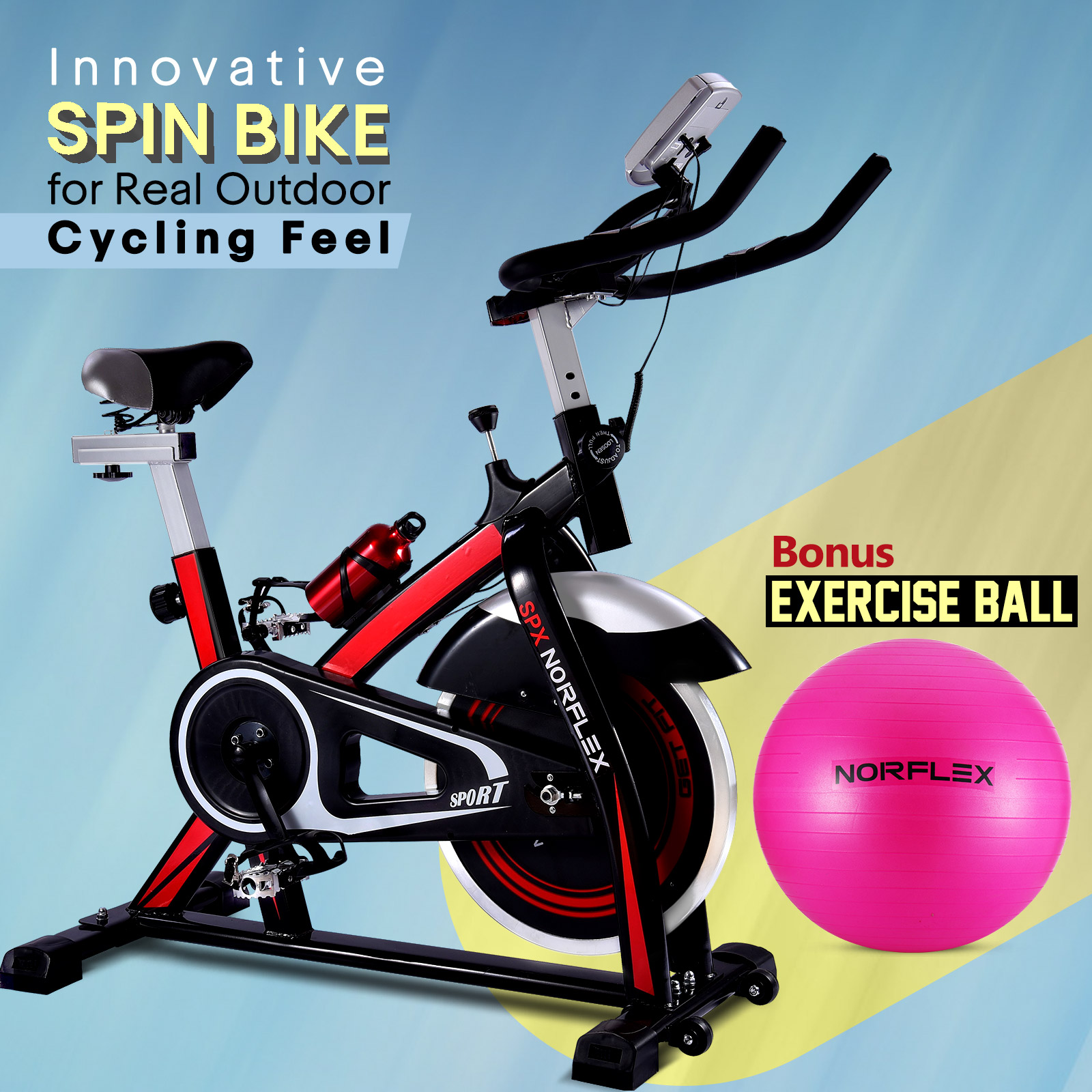NEW NORFLEX Spin Bike Flywheel Commercial Gym Exercise Home Workout BK*65CM BALL