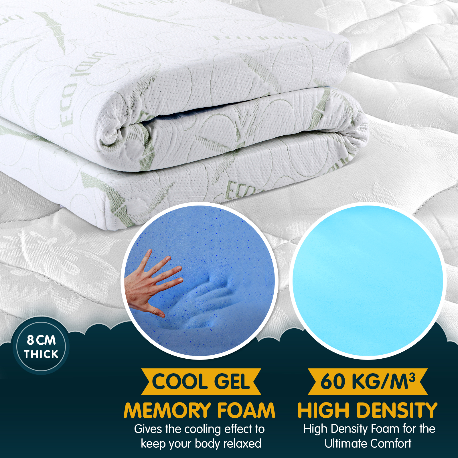 Queen sized Cool Gel Memory Foam Mattress Topper Bamboo Fabric Cover With Bonus