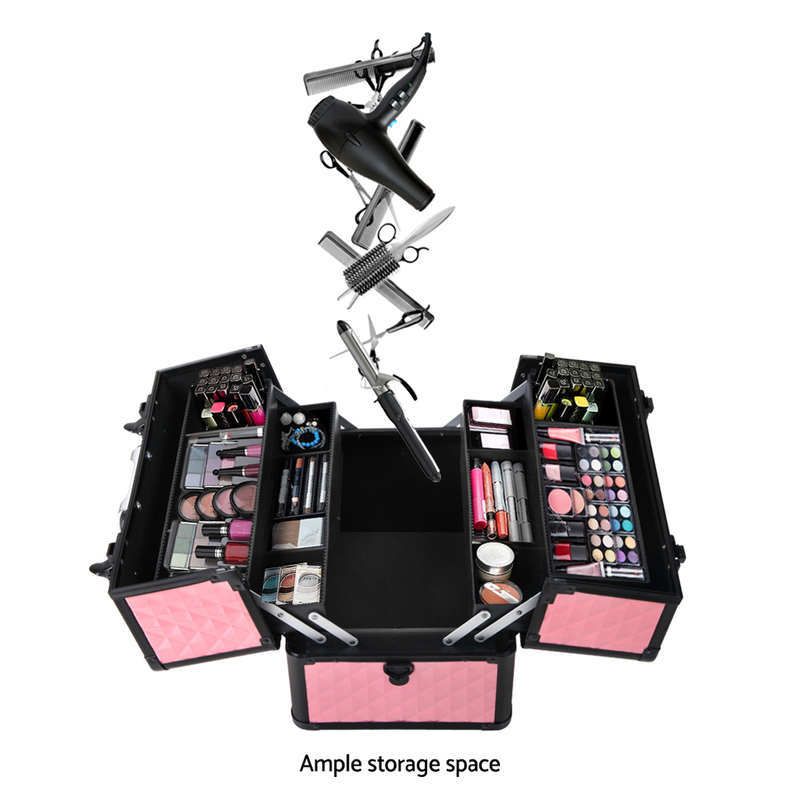 Embellir Portable Cosmetic Beauty Makeup Case - Diamond Pink