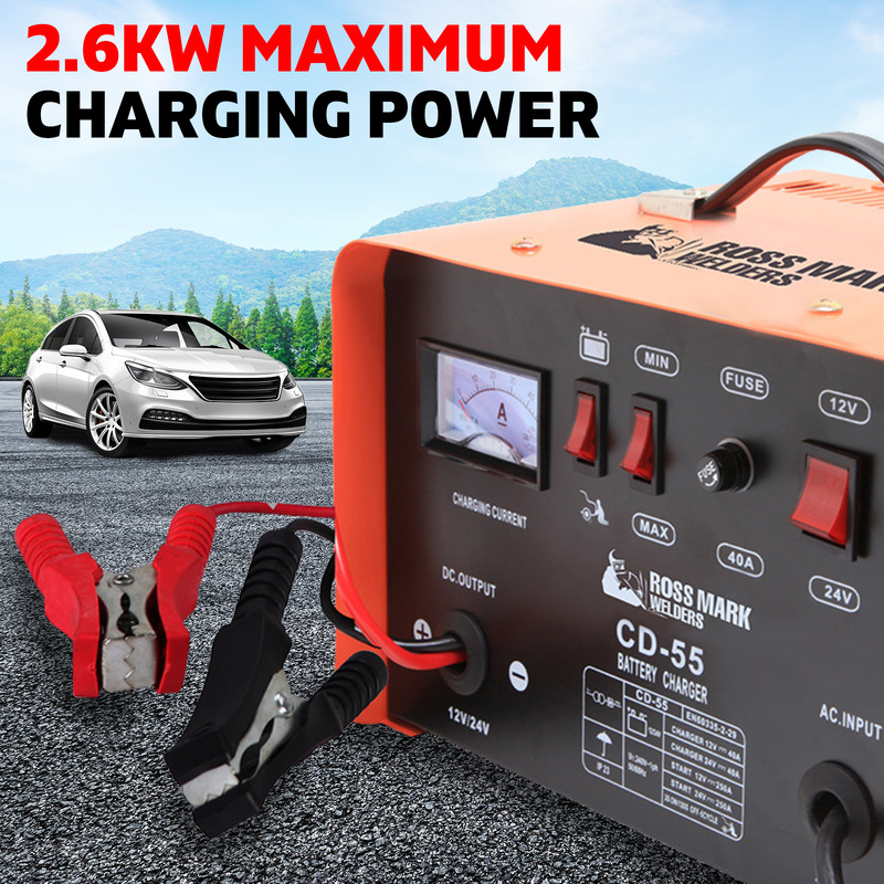 NEW ROSSMARK 2IN1 Car Battery Charger Jump Starter 12 24V 40A ATV Boat Tractor