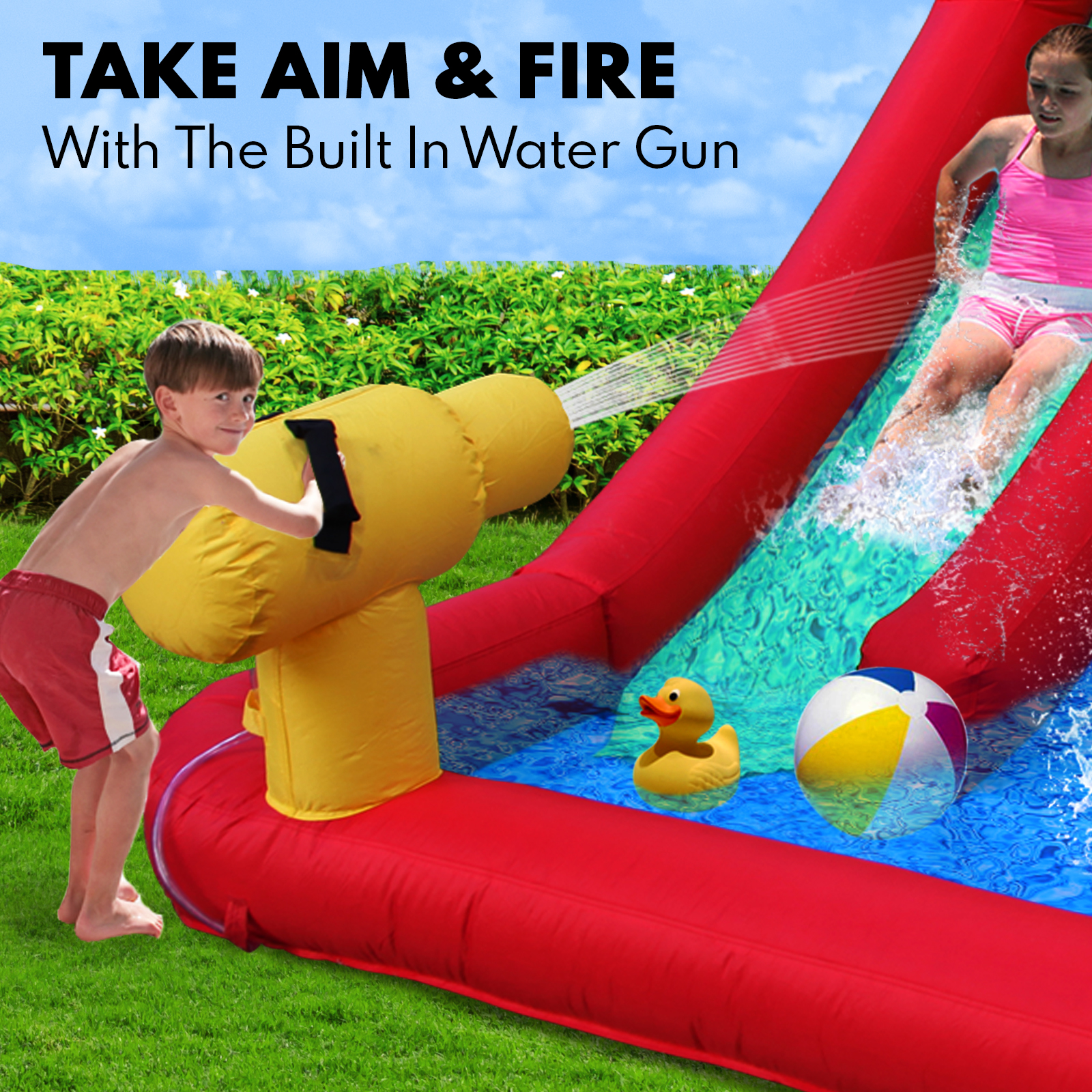 Inflatable Water Slide Jumping Castle Pool Bouncer Trampoline Kids Splash Toy A1