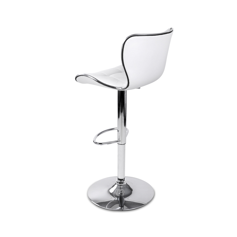 Artiss Set of 2 PU Leather Patterned Bar Stools - White and Chrome