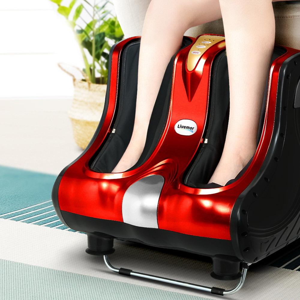 Livemor Foot Massager Shiatsu Ankle Calf Leg Massagers Circulation Enhancer Red