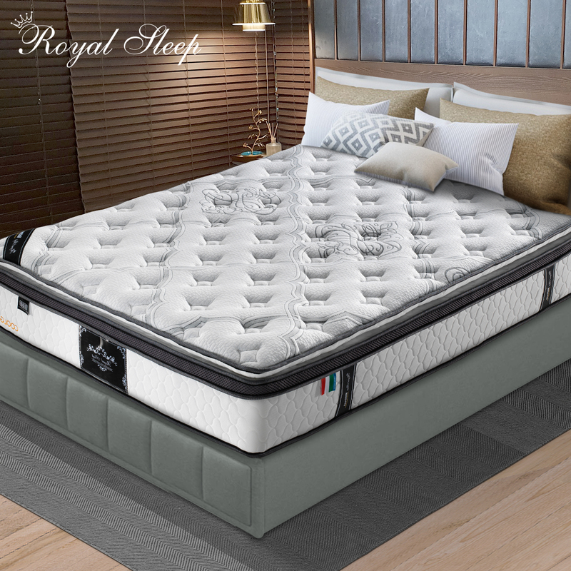 KING Mattress Euro and Pillow Top 9 Zone Pocket Spring Latex Memory Foam 34CM