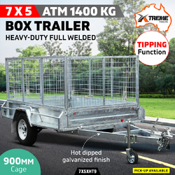 New 7x5 900MM Cage Fully Welded Galvanised Box Trailer with ATM 1400KG