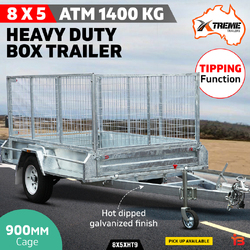 8x5 Heavy Duty Galvanised Box Trailer 900mm Cage 1400kg