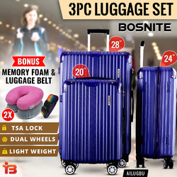 3pc Luggage Suitcase Trolley Set TSA Travel Carry On Bag Hard Case Lightweight H