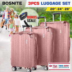 3pc Luggage Suitcase Trolley Set TSA Travel Carry On Bag Hard Case Lightweight J