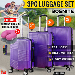 Hard Case Luggage Set 3 Piece 95cm Purple