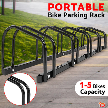 Portable Bike 5 Parking Rack Bicycle Instant Storage Stand - Black