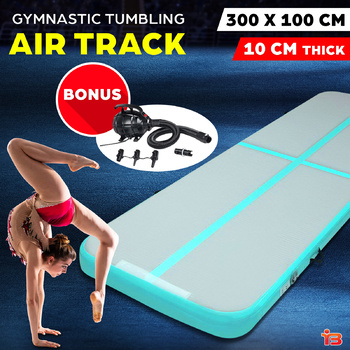 Everfit GoFun 3X1M Inflatable Air Track Mat with Pump Tumbling Gymnastics Green