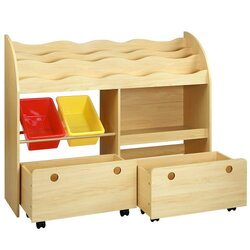 Keezi Kids Bookcase Childrens Bookshelf Toy Storage Box Organizer Display Rack Drawers with Rollers