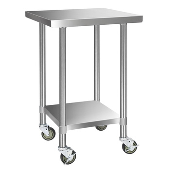 Cefito 430 Stainless Steel Kitchen Benches Work Bench Food Prep Table with Wheels 610MM x 610MM