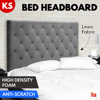 Artiss KING SINGLE Size Bed Head Headboard Bedhead Fabric Frame Base CAPPI Grey