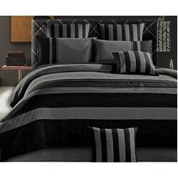 King Size Grey Black Sriped Quilt Cover Set(3PCS)