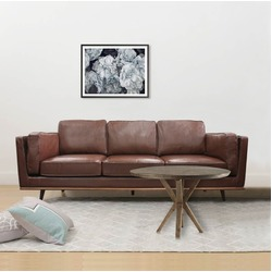 3 Seater Stylish Leatherette Brown York Sofa