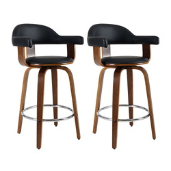 Artiss Set of 2 Bar Stools PU Leather Wooden Swivel - Wood, Chrome and Black