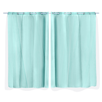 2x Blockout Curtains Panels 3 Layers with Gauze Room Darkening 140x230cm Aqua