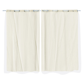 2x Blockout Curtains Panels 3 Layers with Gauze Room Darkening 140x244cm Sand