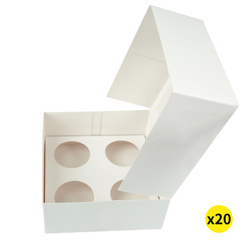 20 Pcs 4 Holes Cupcake Boxes Cupe Cake Box Window Face Cover and Inserts