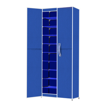 Levede 10 Tiers Shoe Rack Portable Storage Cabinet Organiser Wardrobe Blue Cover
