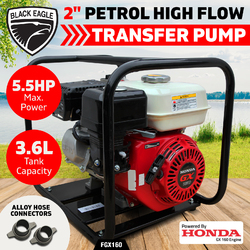 "2"" Fire Fighting Petrol Water Transfer Pump Genuine GX160 HONDA ENGINE High Flow"