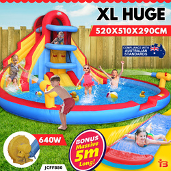 Inflatable Water Double Slide Large Jumping Castle Pool Climbing Kids Splash Toy