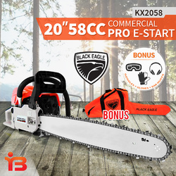 "Black Eagle 20"" 58cc Commercial Petrol Chainsaw Tree Pruning"