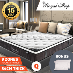 QUEEN Mattress *9 Zone Pocket Spring Mattress Latex Foam EuroTop *Chiro Endorsed